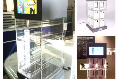 Juul LCD Screen Display Case<br/>Injection moled shelves, header and base, LCD screen plaing insrucitonal video, rear swinging door, lit raised logo on base