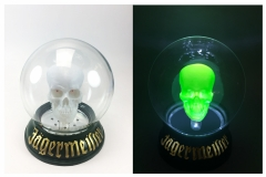 Jägermeister Motion Activated Halloween Display<br/>Glass crystal ball with  lit polyresin skull.  Motion activated falshes and lights to generate brand awareness